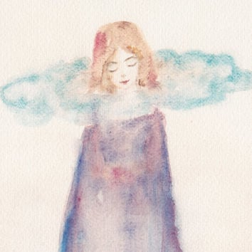 Dreaming, watercolor painting art print surreal fairytale artwork dream girl