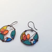 Dangle resin earring, Resin Jewelry, Silver Wire Jewelry, green yellow orange, Gifts for her nickel free handmade jewelry, dangle and drop