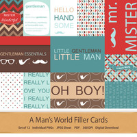 Filler Cards Journaling Cards for Pocket Scrapbooking Project Life Inspired Pocket Cards 3x4 and 4x6 Digital Scrapbooking Little Gentleman