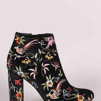 Liliana Embroidery Velvet Almond Toe Chunky Heeled Booties