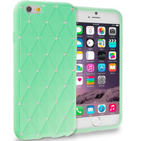Teal Diamond Bling Silicone Soft Rubber Skin Case Cover for Apple iPhone 6 6S (4.7)