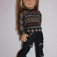 18 inch doll clothes, geometric print shirt with lace sleeves, black denim ripped skinny jeans, upbeat petites
