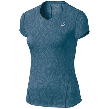 asics all over graphic v neck workout tee women s size  number 1