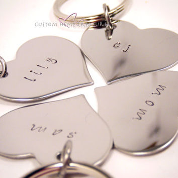 Family Keychains, Bridesmaids Gift, Bridesmaids Keychains, Heart Keychains, Stamped Keychains, Hand Stamped, Stainless Steel hearts