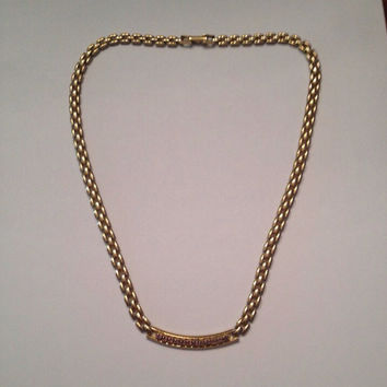 Vintage Gold Rhinestone Lavender Necklace Costume Jewelry