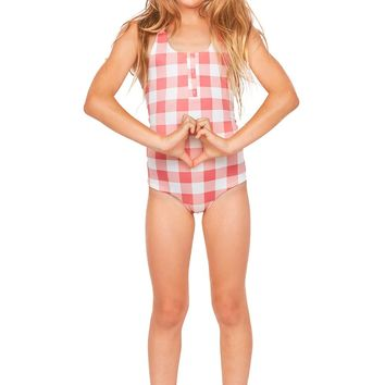 Tori Praver Kids Swimwear Sophie One Piece in Riviera Check