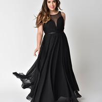 Black Chiffon Illusion Sweetheart Long Gown