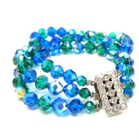 Blue Green Faceted Bead Glass Crystal Bracelet Rhinestone Clasp Triple Strand Vintage Runway Costume Jewelry Estate 8 Inches Long Runway