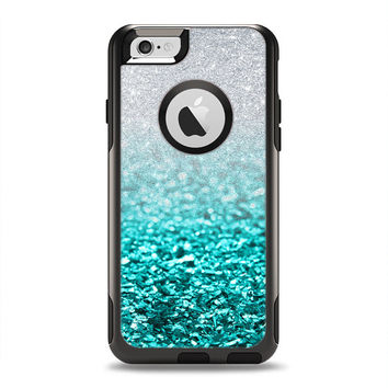 The Aqua Blue & Silver Glimmer Fade OtterBox Commuter Case Skin Set (Other Models Available!)