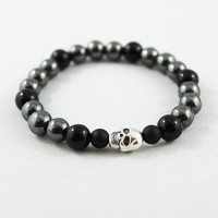 Unisex Skull Bracelet, Onyx, Hematite Bead Stretch Stacking Bracelet, Men's, Women's Skull Jewelry
