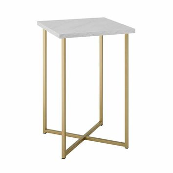 """16"""" Square Side Table - Faux White Marble/Gold"""