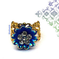 Blue Flower Ring with Crystals. Adjustable Ring. Flashy Cocktail Ring. Blue Dahlia with AB Finish.