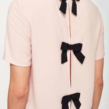 Pink Bow Back T-Shirt - Clothing - New In