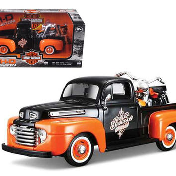 1948 Ford F-1 Pickup Truck Orange-Black with 1958 FLH Duo Glide Harley Davidson Motorcycle 1-24 by Maisto