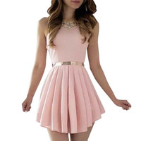 Pink Women Sexy Sleeveless  Spaghetti Chiffon Party Ball Prom Evening Short Dress