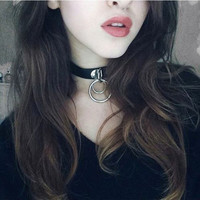 Fashion Punk Rock Metal Double  Black Round Collar  Collar Necklace Sexy Gothic Choker Leather Belt Necklace for Women
