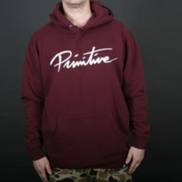 Primitive Big Nuevo Mens Pullover Hooded Sweatshirt in Burgundy (PRMTVBNPULL-BUR)
