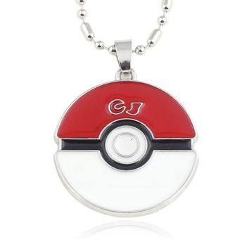 Fashion Pokemon Eevee Necklace enamel alloy red white long pendant men and women jewelry