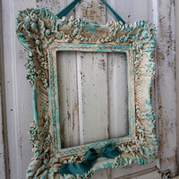 Distressed picture frame Caribbean aqua blue w/ aged white hand painted shabby cottage chic vintage ornate wall decor anita spero design