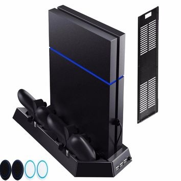 For PlayStation 4  PS4 and PS4 Slim Console Vertical Stand w/ Cooling Fan Charger Charging Dock Station w/ USB HUB 4pcs caps