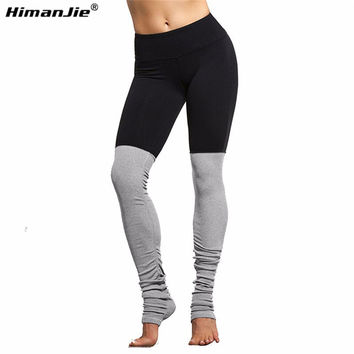 Himanjie Women Black running tights Patchwork Fitness Skinny Pants Slim Women Gym Leggings Push Up Sexy yoga pants S/M/L/XL