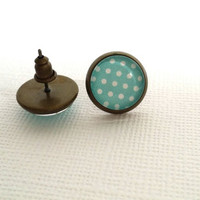 Polkadots Glass Stud  Earrings,White and Teal Stud  Earrings, White Polkadots, Bridemades Gift