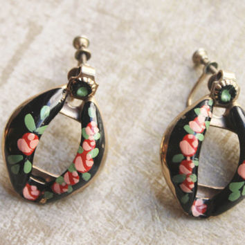 Vintage 1940's Enamel Hand Painted Floral Metal Earrings-POP VINTAGE