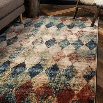 0156 Beige Abstract Checkered Design Contemporary Area Rugs