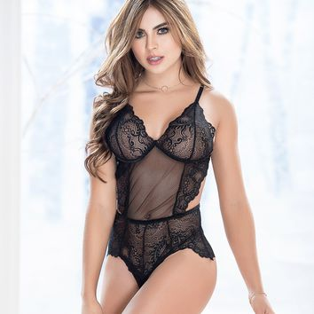 Ruffled Lace Teddy