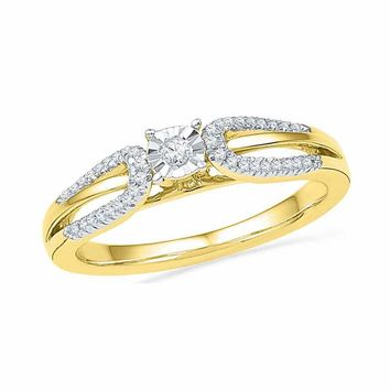 10kt Yellow Gold Womens Round Diamond Solitaire Open-shank Bridal Wedding Engagement Ring 1/6 Cttw