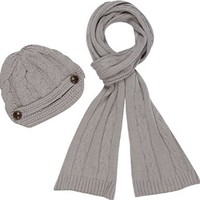 EHATES870VB - Womens 2-piece Cable Knitted Visor Beanie Scarf and Hat Set with Button Accent ( 8 Colors ) - Charcoal/One Size