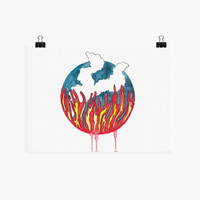 Fire is a Watercolor style illustration Giclee Print - Original Gouache Painting of fire and flames creating a cloud of smoke.