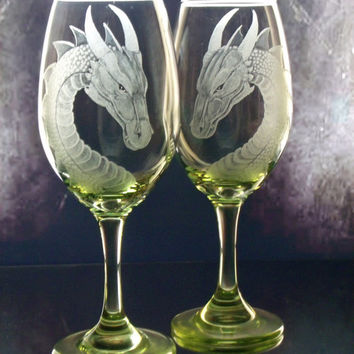 Lime green dragon engraved wine glass set of two , gift ideas, dining, entertaining hostess gifts