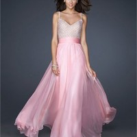 A-line Spaghetti Straps V-neck with Beadings Pink Chiffon Floor Length Prom Dress PD2134 Dresses UK