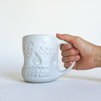WHITE SKULL MUG 16oz, ceramic, pottery, handmade, coffee, tea, hot, cocoa, chocolate, milk, water, chai, latte, juice, beer, sugarskull
