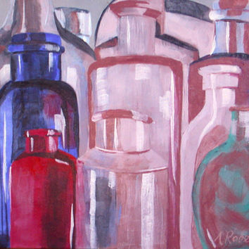 Antique Glass Bottles Still Life Painting, Wall Art, Bottle Painting, Vintage Painting