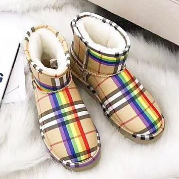 UGG & Burberry Winter Fashion New Rainbow Plaid Keep Warm High Quality Snow Boots Shoes Women