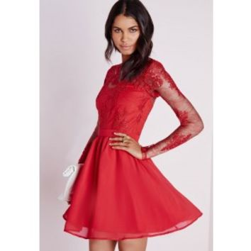 Premium Lace Long Sleeve Skater Dress Red - Dresses - Skater Dresses - Missguided