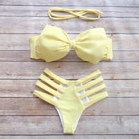 Retro Bow Hollow Out swimwear Set Swimsuit