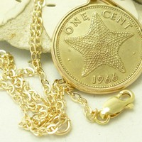 Bahama Starfish 1 Cent 1966 Coin Pendant 14 kt Gold Filled Necklace