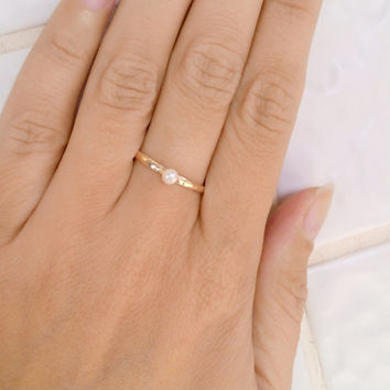 HOLIDAY SALE!! Thin gold ring, pearl ring, stacking rings, stack ring, hammered ring, tiny ring