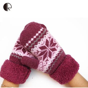 Women's Fashion Snow Pattern Turn Out Cuff Thicken Winter Gloves 90% Wool Casual Warm Mittens 6 Color