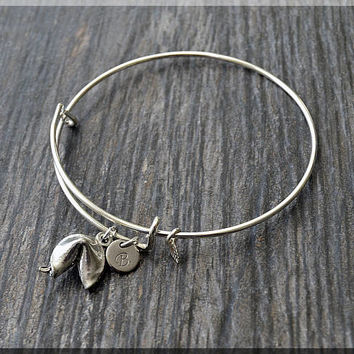 Silver Fortune Cookie Charm Expandable Bangle Bracelet, Adjustable Bangle, Stacking Charm Bracelet, Personalized Lucky Charm Bangle