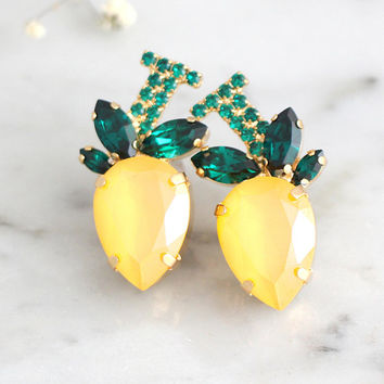 Lemon Earrings, Yellow Lemon Earrings, Tropical Earrings, Yellow Green Earrings, Lemon Crystal Swarovski Earrings, Tropical Wedding Jewelry