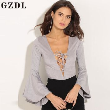 GZDL Sexy Lace Up Deep V Casual Women Tops Bodysuit Rompers Long Flare Sleeve Jumpsuits Gray Milk Silk Playsuit Bodysuits CL3700