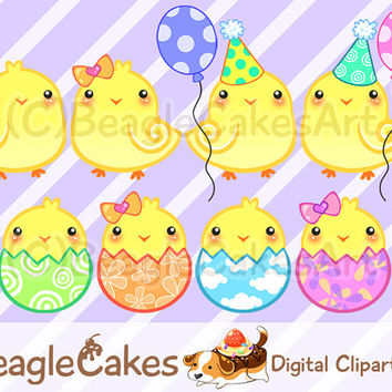 Digital Download: Happy Cute Chicks - Easter Day Decorations, Planner Stickers, Kawaii Scrapbook Clip Art, Birthday Party Invitations, DIY