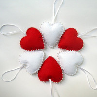 Red and white  felt hearts - christmas, valentines day home decoration - gift tags, ornaments - puffy hearts