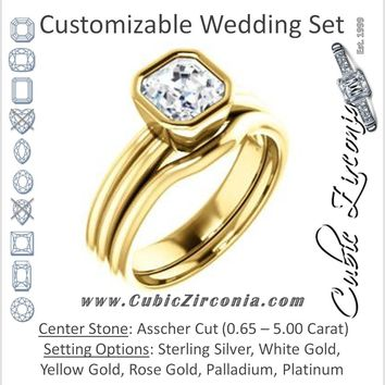 CZ Wedding Set, featuring The Stacie engagement ring (Customizable Bezel-set Asscher Cut Solitaire with Grooved Band)