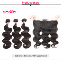 Body Wave13*4 Lace Frontal Closure And Virgin Brazilian Hair Weave 3 Bundles