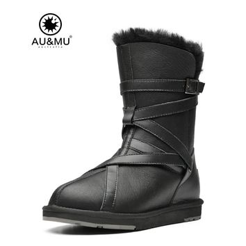 2017 AUMU Australia Fur Flat Leather Slip-on Thick Platform Solid Round Toe Rubber Soles Mid-calf Snow Winter Boots UG N363